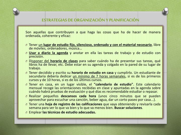 ESTRATEGIAS DE ORGANIZACIÓN Y PLANIFICACIÓN