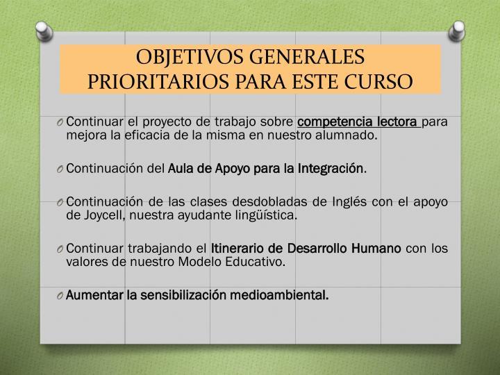 Objetivos generales prioritarios para este curso