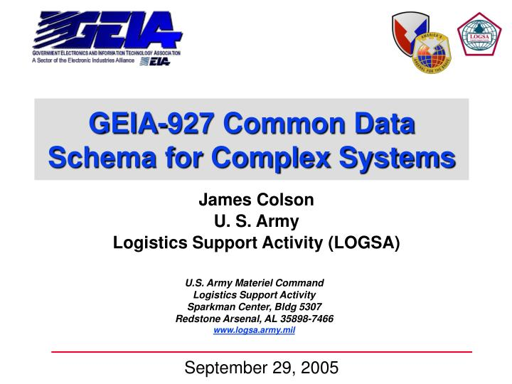 geia 927 common data schema for complex systems n.