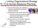 linking organizational strategy to human resource planning