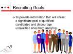 recruiting goals