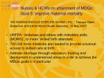 nurses hcws on attainment of mdgs goal 5 improve maternal mortality1