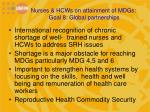 nurses hcws on attainment of mdgs goal 8 global partnerships