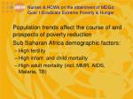 nurses hcws on the attainment of mdgs goal 1 eradicate extreme poverty hunger