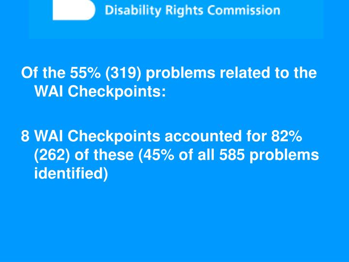 Of the 55% (319) problems related to the WAI Checkpoints: