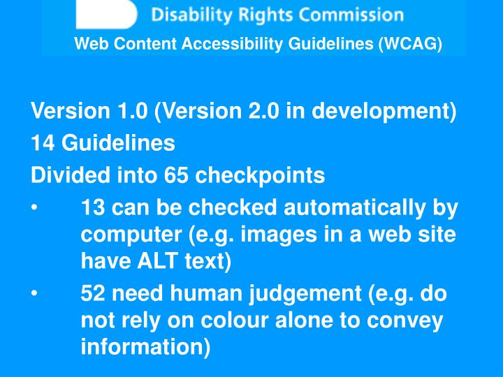 Web Content Accessibility Guidelines (WCAG)