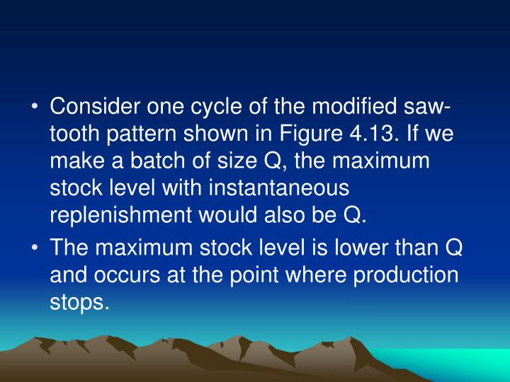 Consider one cycle of the modified saw-tooth pattern shown in Figure 4.13. If we make a batch of size Q, the maximum stock level with instantaneous replenishment would also be Q.