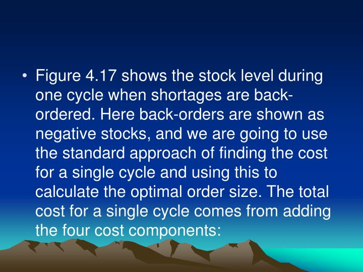 Figure 4.17 shows the stock level during one cycle when shortages are back-ordered. Here back-orders are shown as negative stocks, and we are going to use the standard approach of finding the cost for a single cycle and using this to calculate the optimal order size. The total cost for a single cycle comes from adding the four cost components: