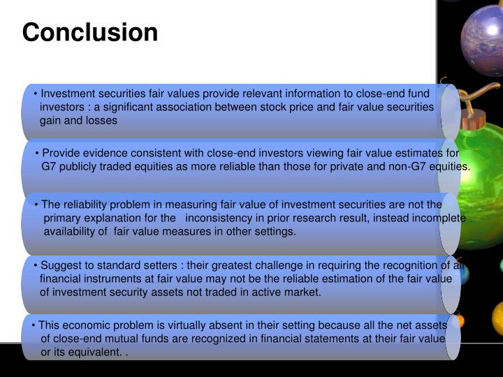 Investment securities fair values provide relevant information to close-end fund