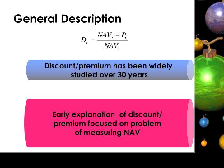 Discount/premium has been widely
