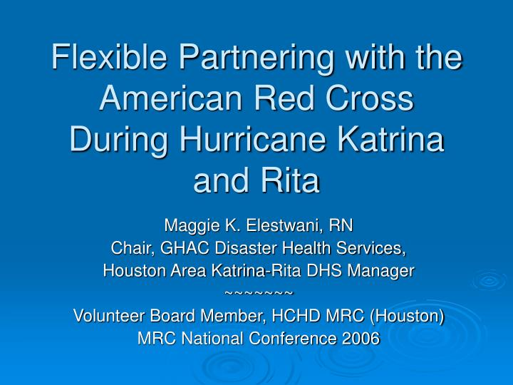 flexible partnering with the american red cross during hurricane katrina and rita n.