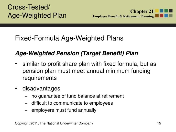 Fixed-Formula Age-Weighted Plans