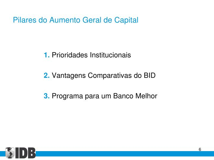 Pilares do Aumento Geral de Capital