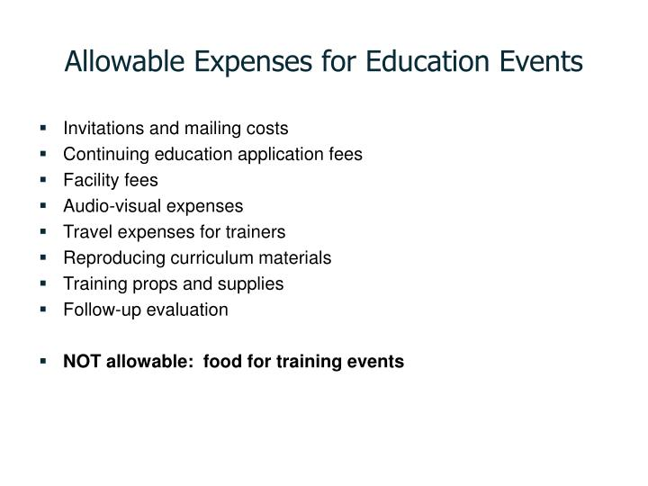 Allowable Expenses for Education Events