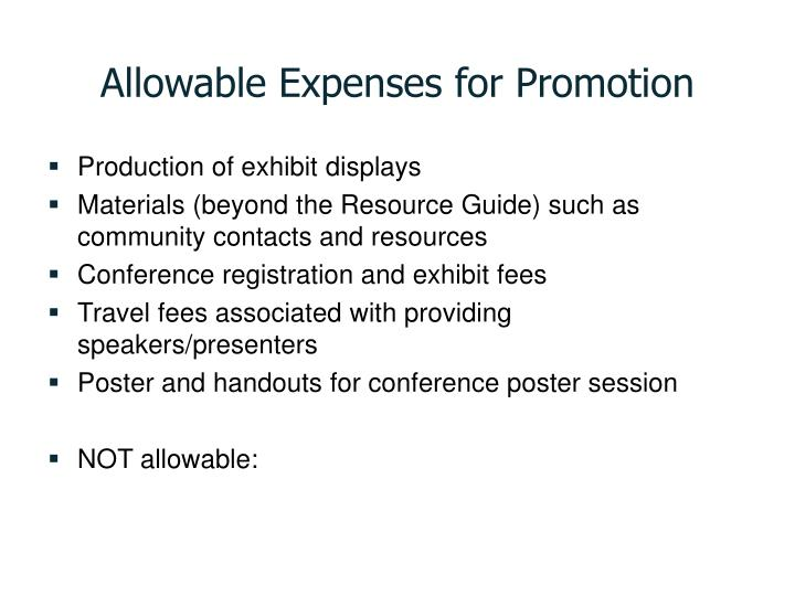 Allowable Expenses for Promotion