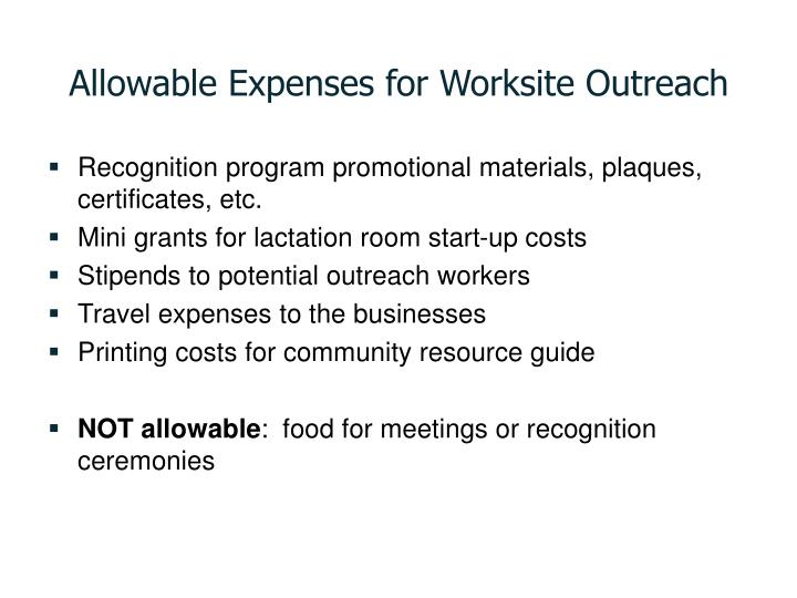 Allowable Expenses for Worksite Outreach