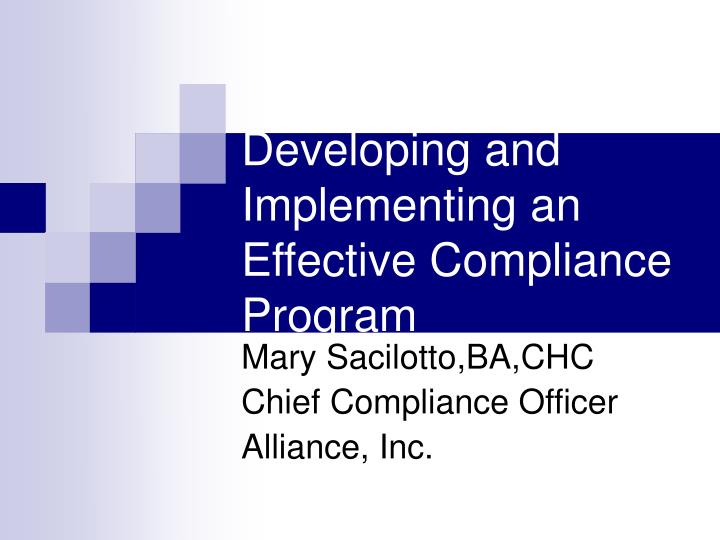 developing and implementing an effective compliance program n.