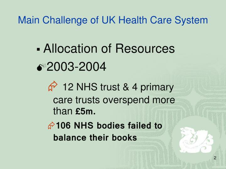 Main challenge of uk health care system