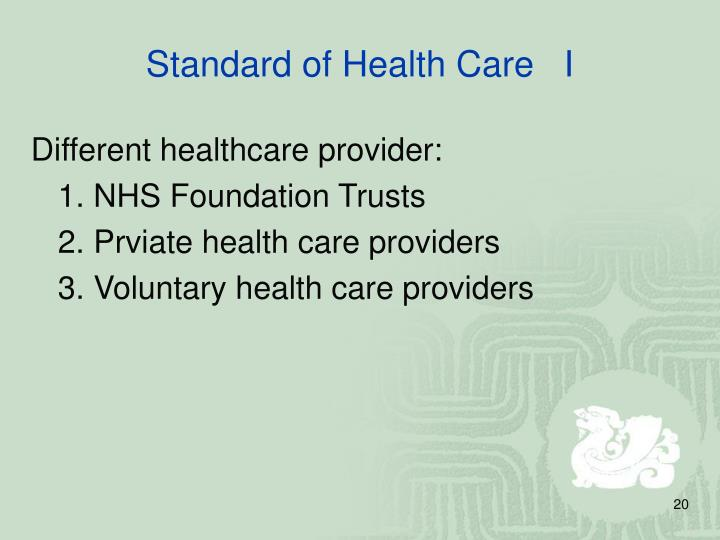 Standard of Health Care   I
