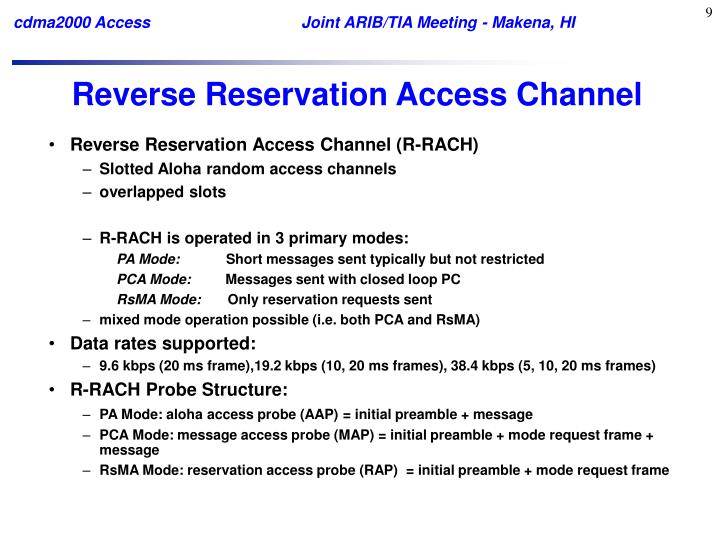 Reverse Reservation Access Channel