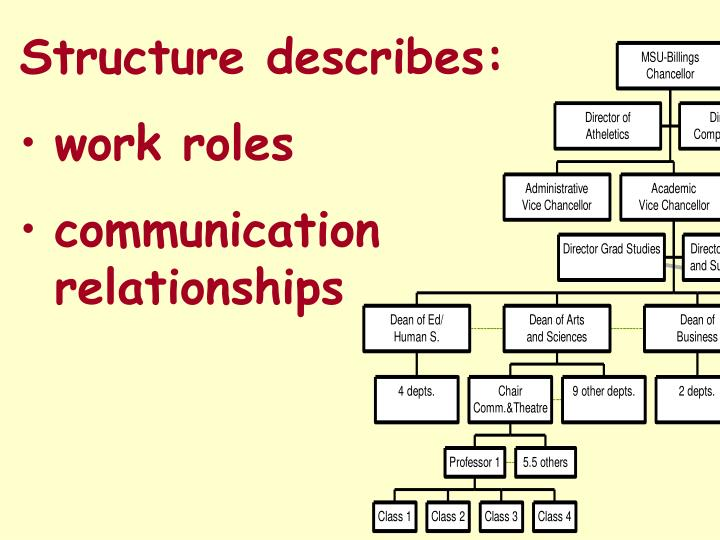 Structure describes:
