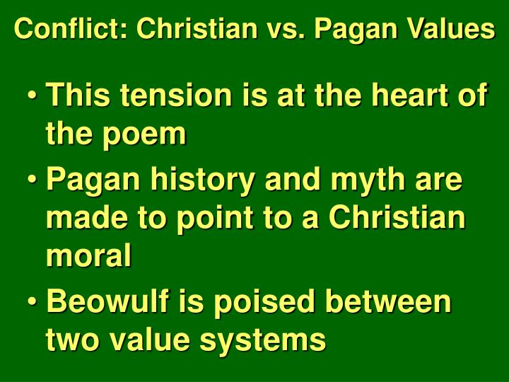 examples of pagan values in beowulf
