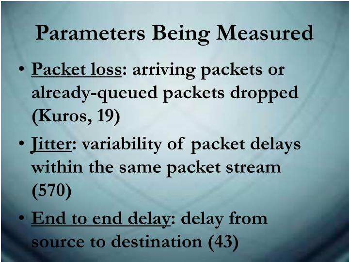 Parameters Being Measured