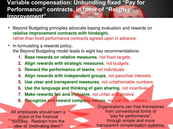 """Variable compensation: Unbundling fixed """"Pay for Performance"""" contracts, in favor of """"Relative Improvement"""""""
