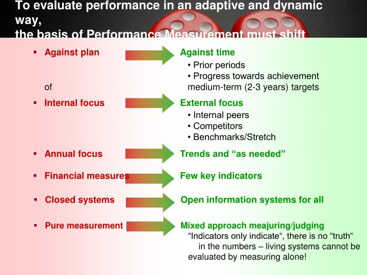 To evaluate performance in an adaptive and dynamic way,