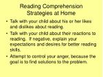 reading comprehension strategies at home