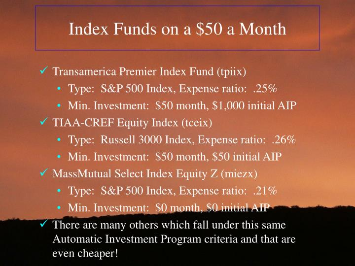 Index Funds on a $50 a Month