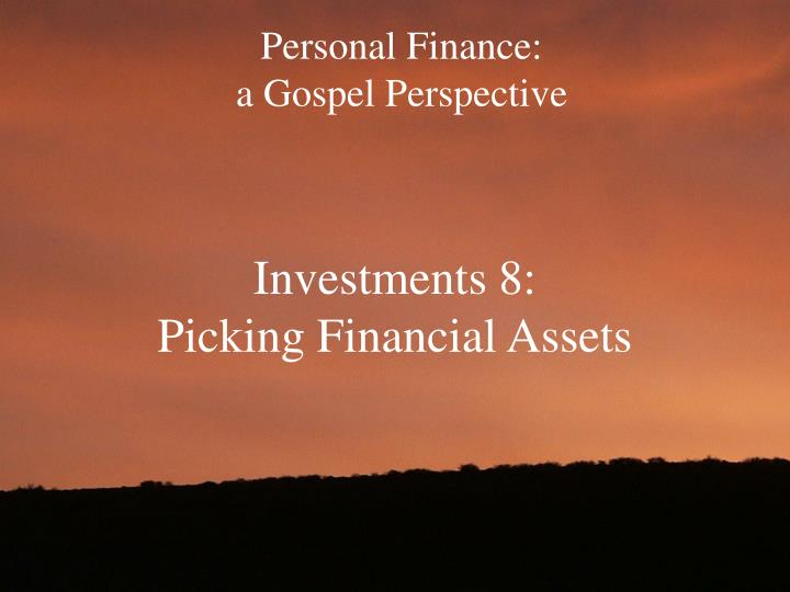 Personal finance a gospel perspective