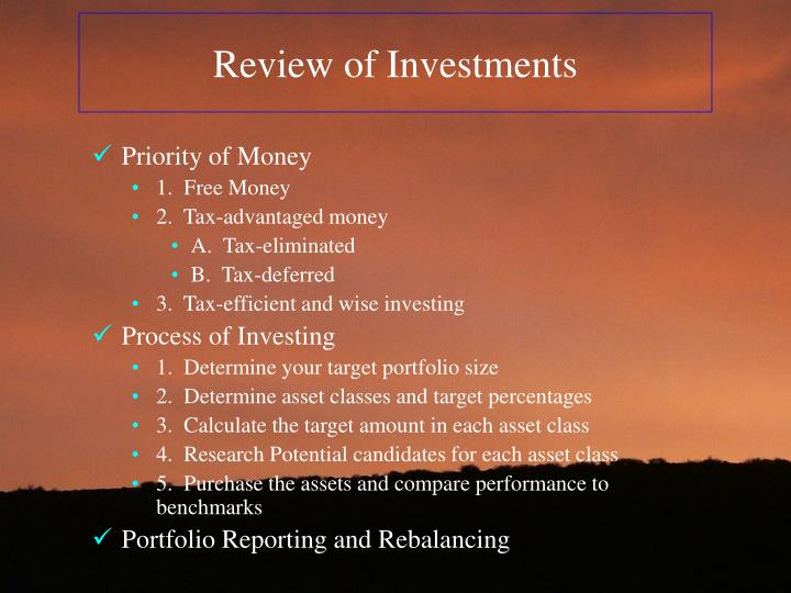 Review of Investments