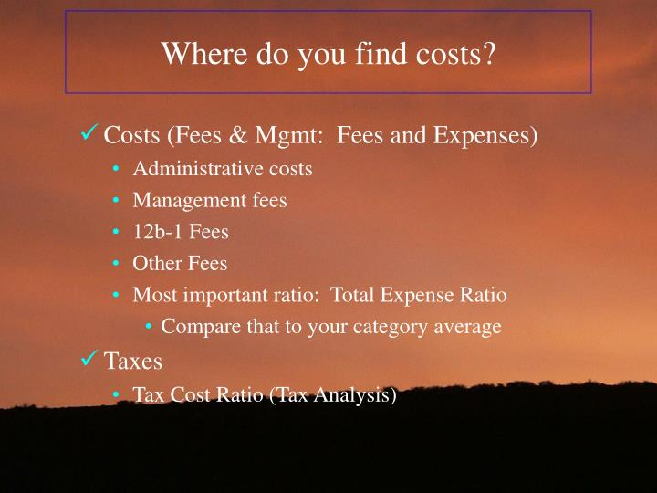 Where do you find costs?