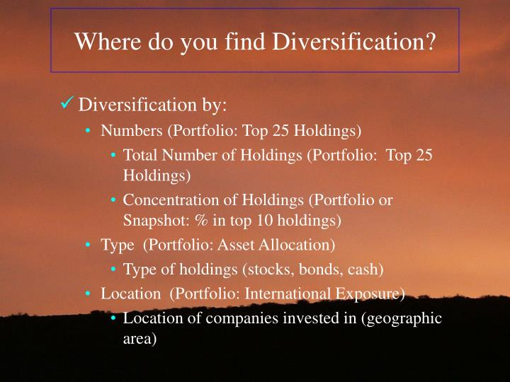 Where do you find Diversification?