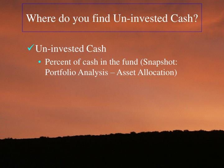 Where do you find Un-invested Cash?