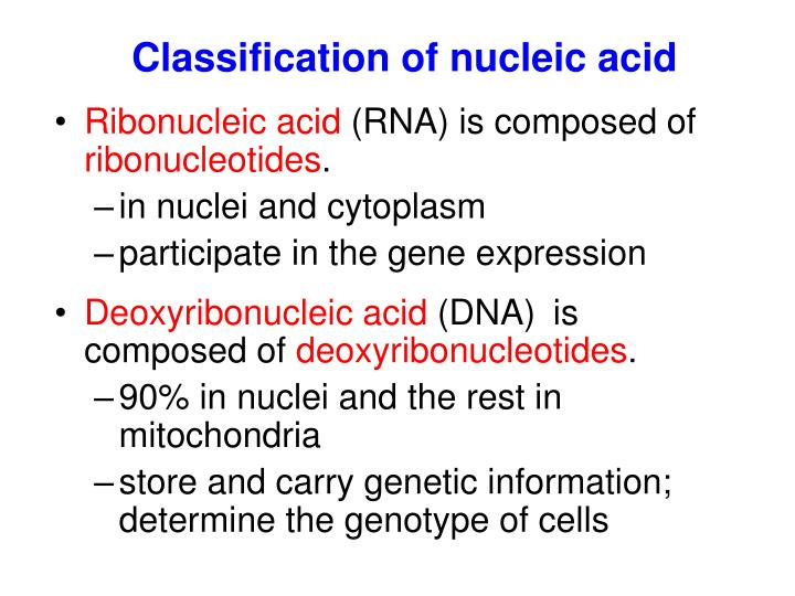 Classification of nucleic acid