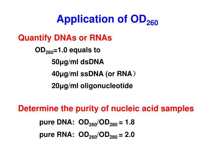 Application of OD