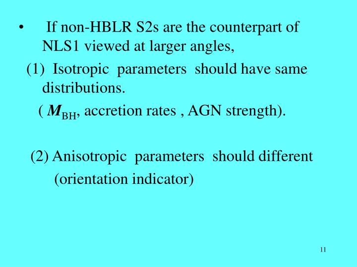If non-HBLR S2s are the counterpart of NLS1 viewed at larger angles,