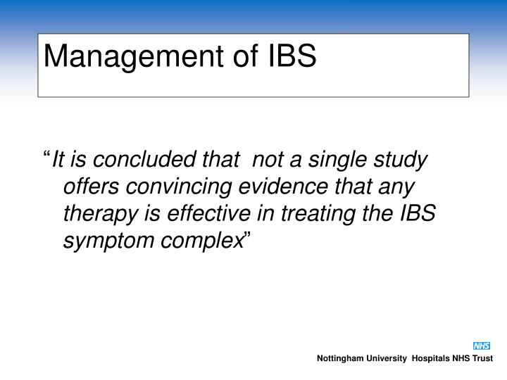 Management of IBS