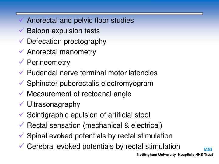 Anorectal and pelvic floor studies