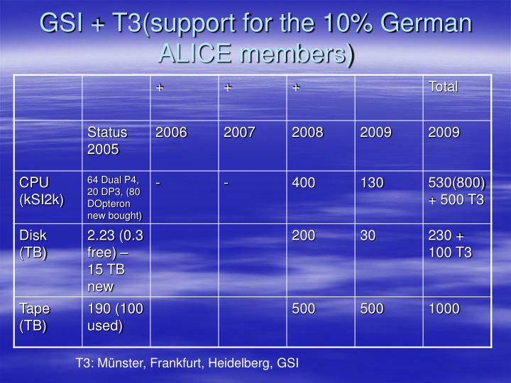 GSI + T3(support for the 10% German ALICE members)