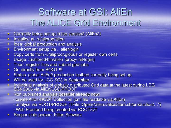 Software at GSI: AliEn