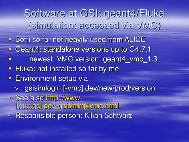 Software at GSI: geant4/Fluka
