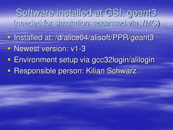 Software installed at GSI: geant3