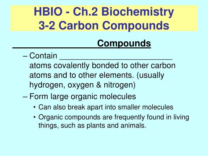 HBIO - Ch.2 Biochemistry