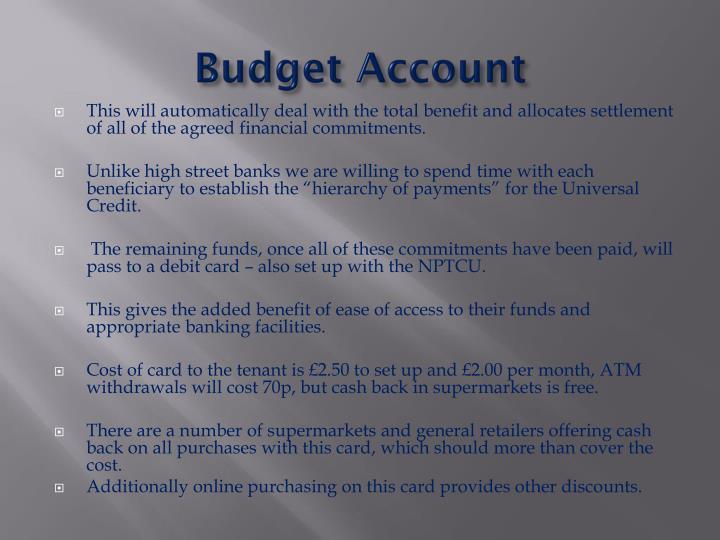 Budget Account
