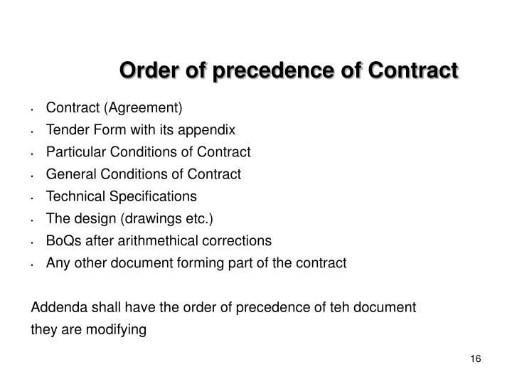 Order of precedence of Contract