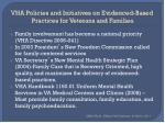 vha policies and initiatives on evidenced based practices for veterans and families