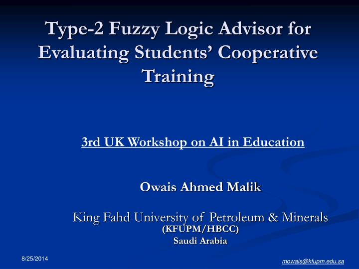 type 2 fuzzy logic advisor for evaluating students cooperative training n.